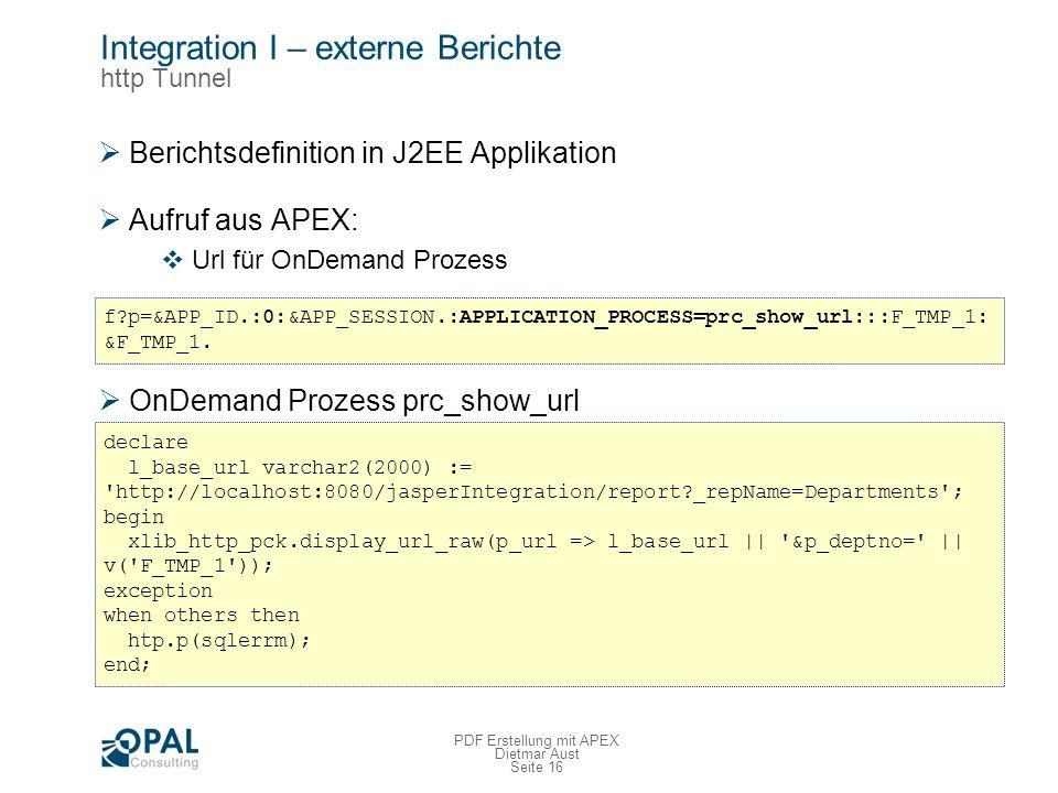 Integration I – externe Berichte http Tunnel