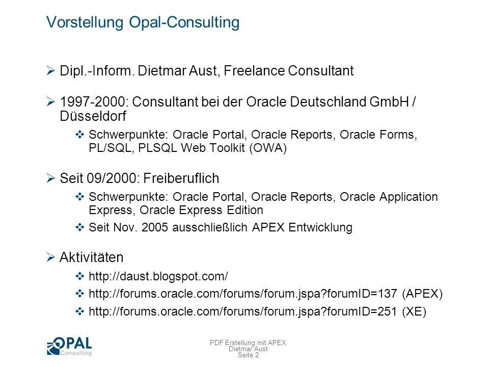 PDF–Erstellung mit APEX Die Problemstellung