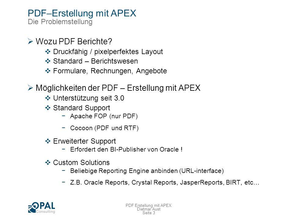 PDF–Erstellung mit APEX Standard-Integration - Berichtsregion