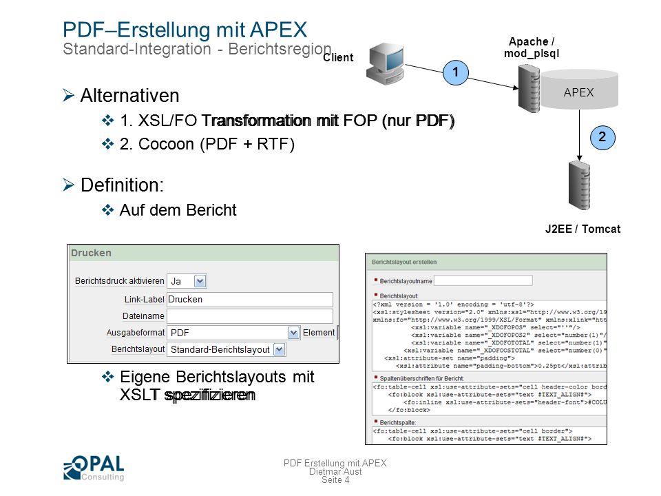 PDF–Erstellung mit APEX Standard-Integration