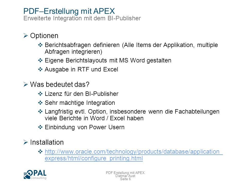 PDF–Erstellung mit APEX