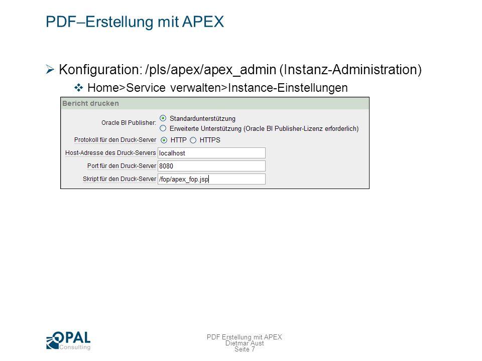 PDF–Erstellung mit APEX Custom Integration