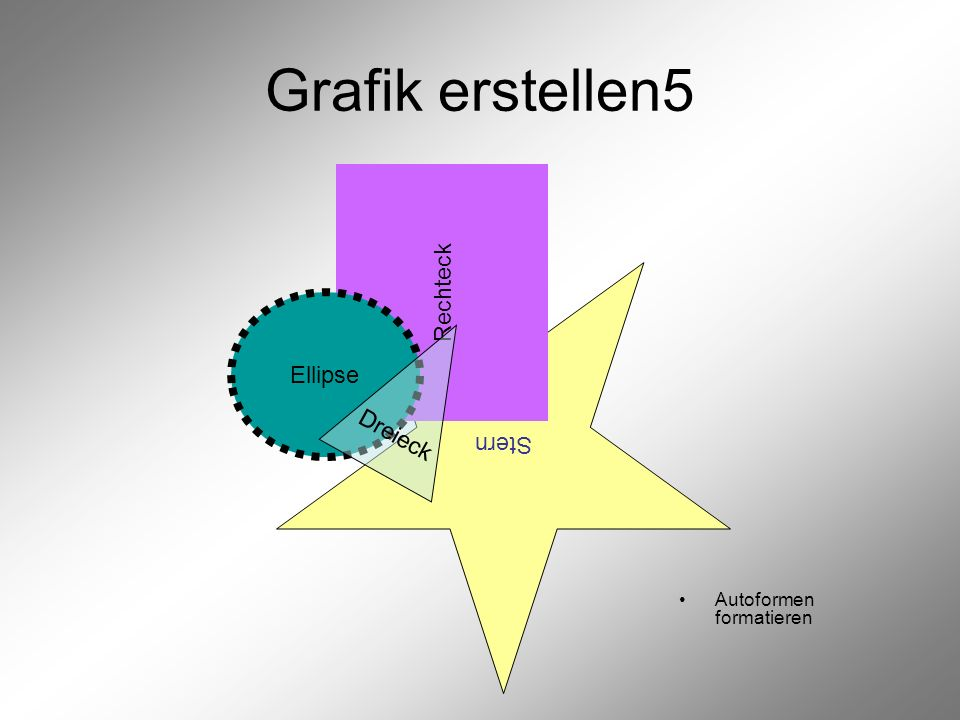 Grafik erstellen5 Rechteck Ellipse Stern Dreieck