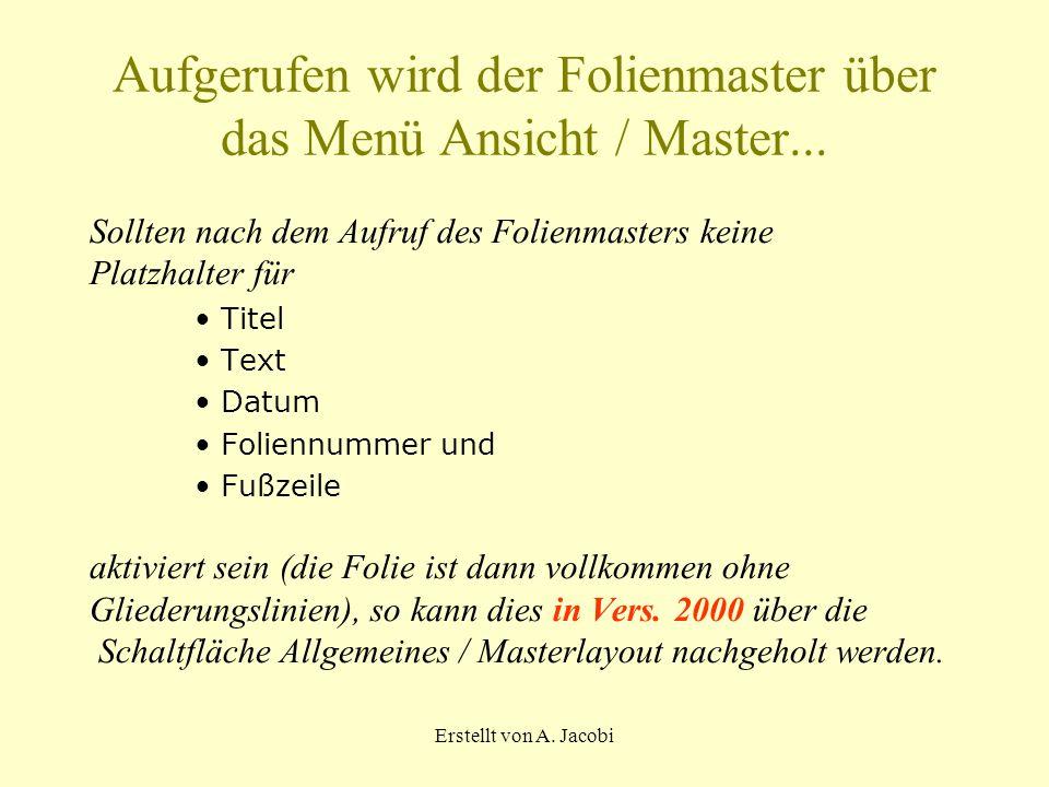 Aufgerufen wird der Folienmaster über das Menü Ansicht / Master...