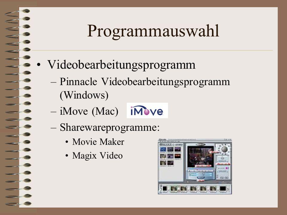 Programmauswahl Videobearbeitungsprogramm
