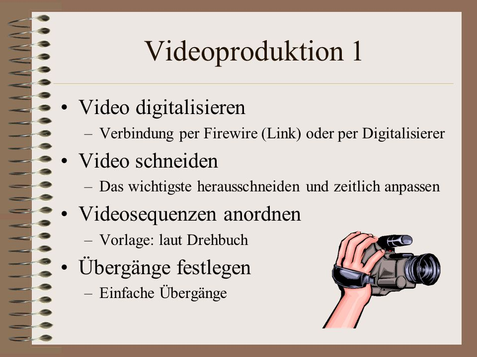 Videoproduktion 1 Video digitalisieren Video schneiden