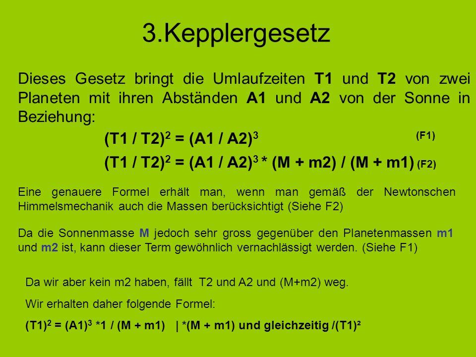 3.Kepplergesetz Dieses Gesetz bringt die Umlaufzeiten T1 und T2 von zwei Planeten mit ihren Abständen A1 und A2 von der Sonne in Beziehung: