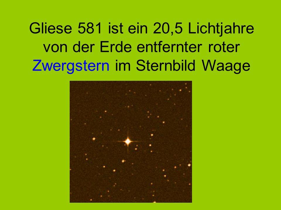 Gliese 581 ist ein 20,5 Lichtjahre von der Erde entfernter roter Zwergstern im Sternbild Waage