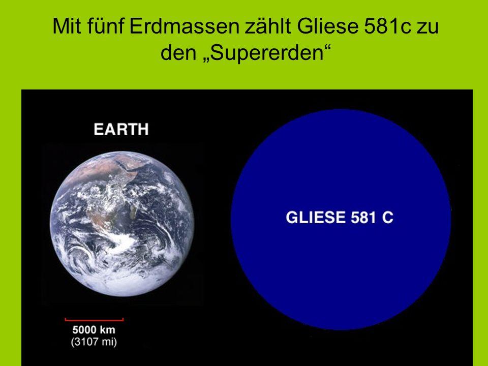 """Mit fünf Erdmassen zählt Gliese 581c zu den """"Supererden"""