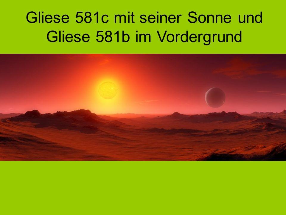 Gliese 581c mit seiner Sonne und Gliese 581b im Vordergrund