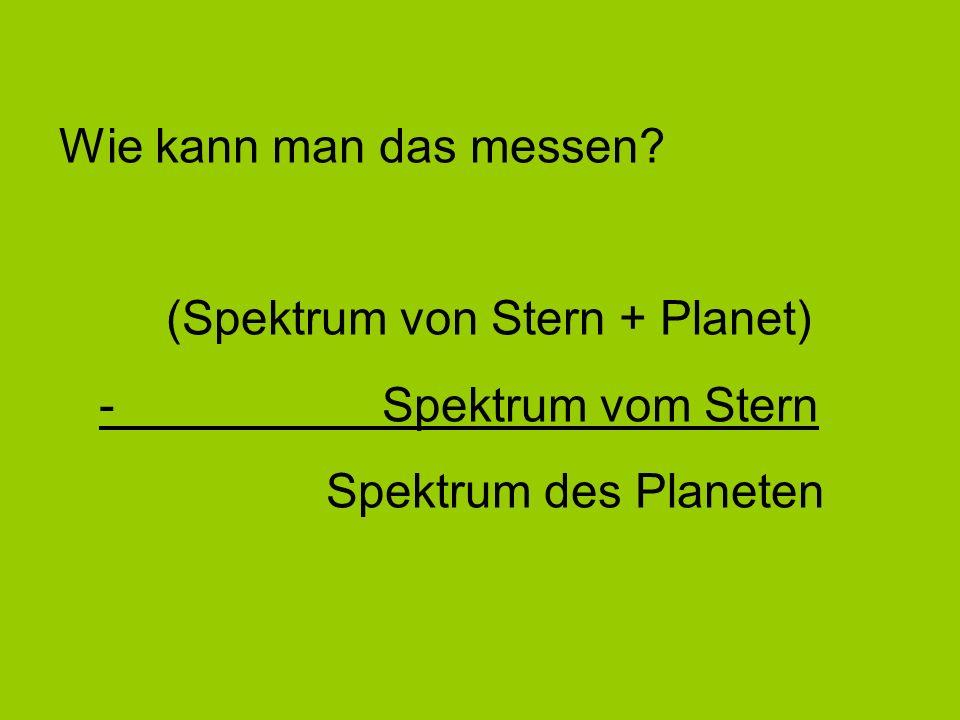 Wie kann man das messen. (Spektrum von Stern + Planet) - Spektrum vom Stern.