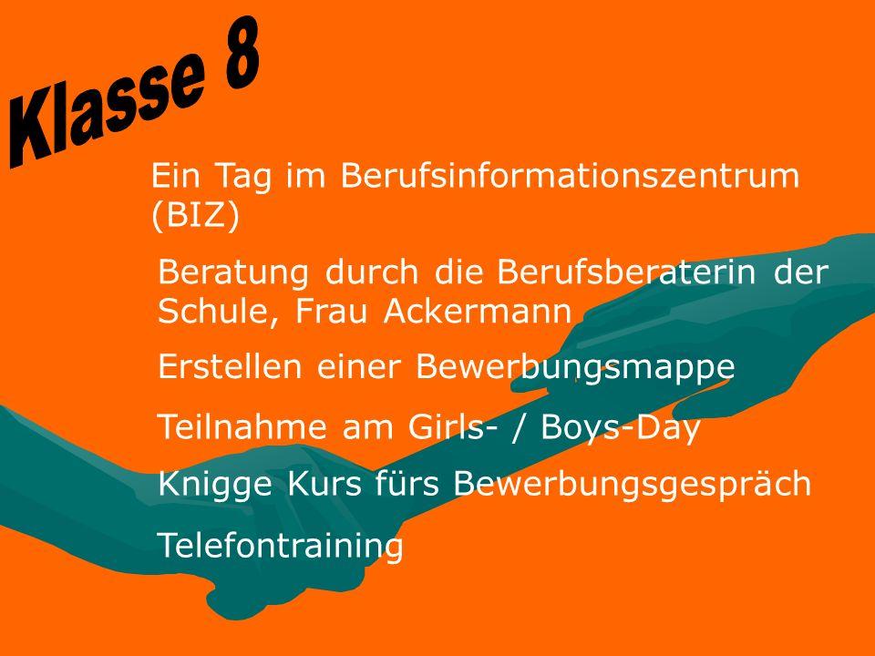 Klasse 8 Ein Tag im Berufsinformationszentrum (BIZ)