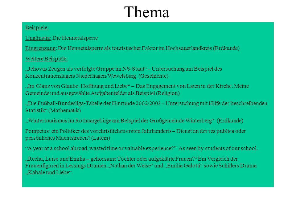 Thema Beispiele: Ungünstig: Die Hennetalsperre