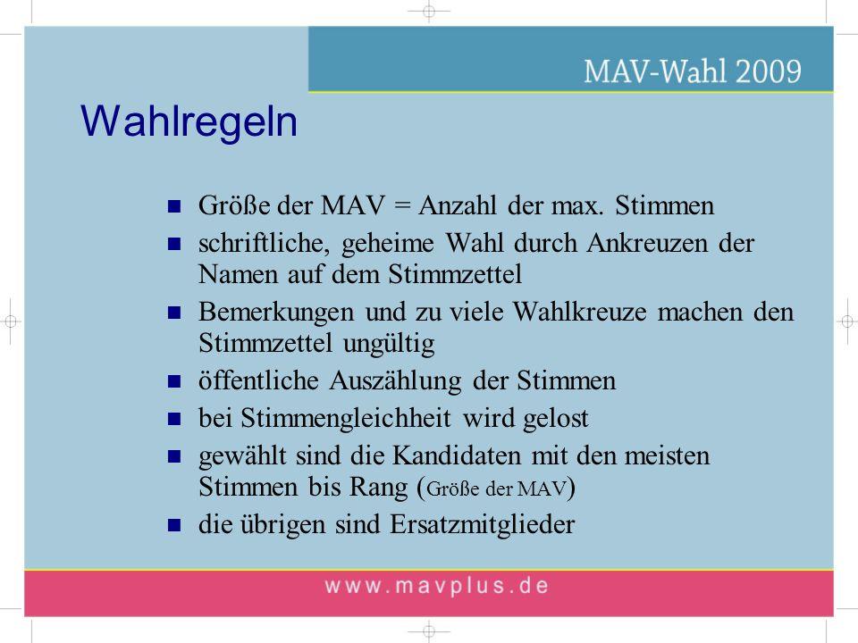 Wahlregeln Größe der MAV = Anzahl der max. Stimmen