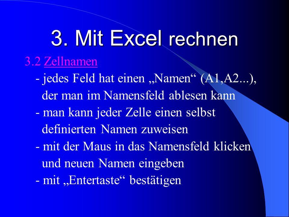 3. Mit Excel rechnen 3.2 Zellnamen