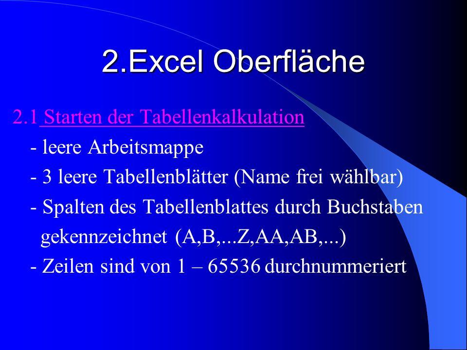 2.Excel Oberfläche 2.1 Starten der Tabellenkalkulation