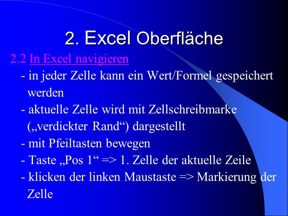 2. Excel Oberfläche 2.2 In Excel navigieren