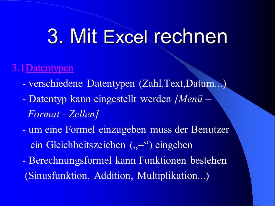3. Mit Excel rechnen 3.1Datentypen