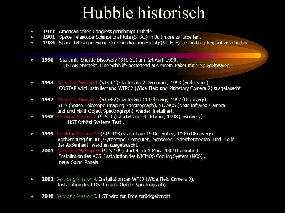Hubble historisch 1977 Americanischer Congress genehmigt Hubble.