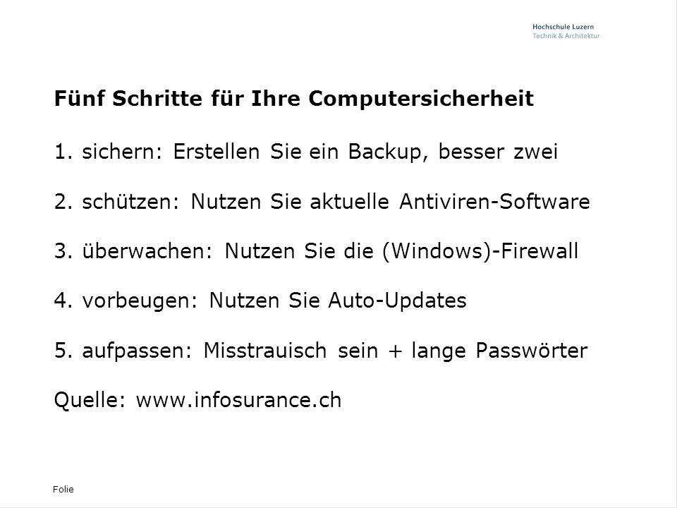 Fünf Schritte für Ihre Computersicherheit