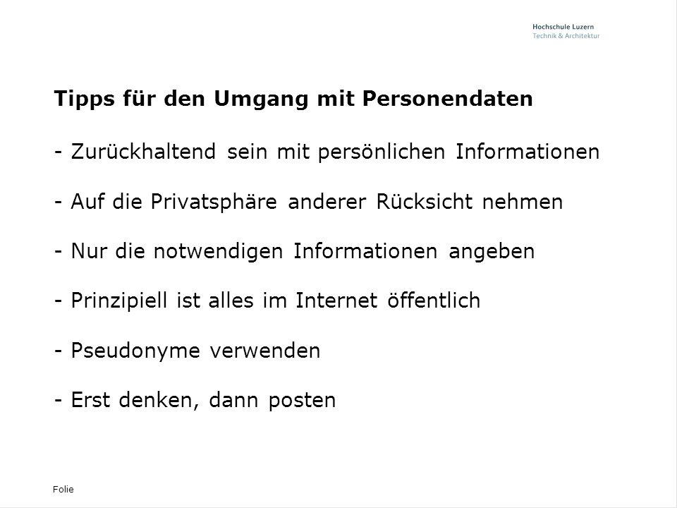 Tipps für den Umgang mit Personendaten