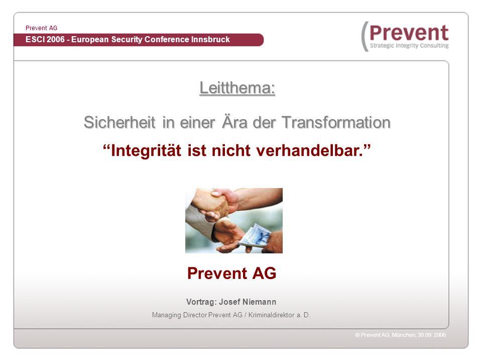 Integrität ist nicht verhandelbar. Vortrag: Josef Niemann