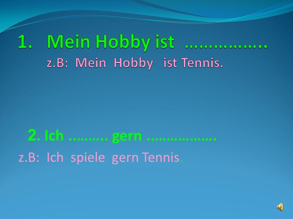 Mein Hobby ist …………….. z.B: Mein Hobby ist Tennis.