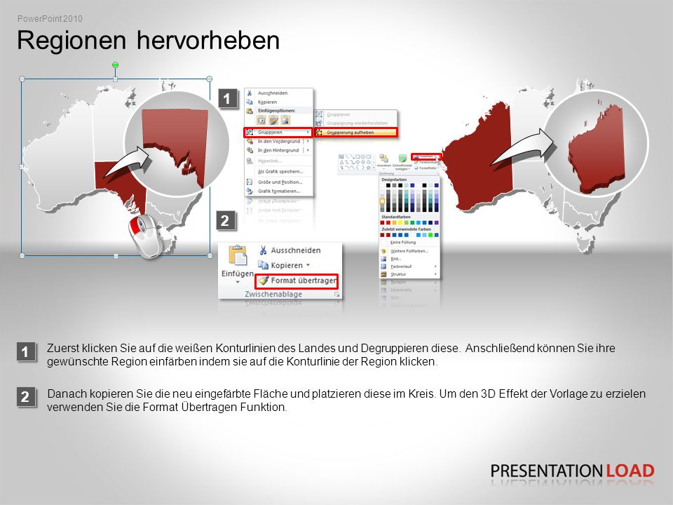 PowerPoint 2010 Regionen hervorheben. 1. 2. 1.