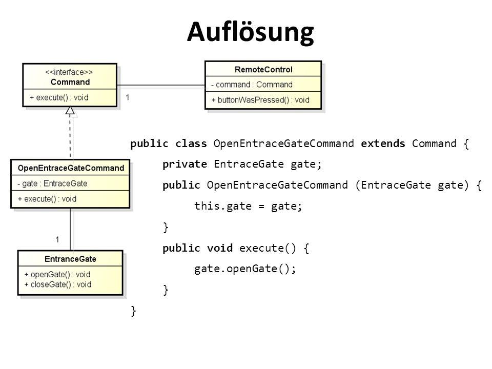Auflösung public class OpenEntraceGateCommand extends Command {
