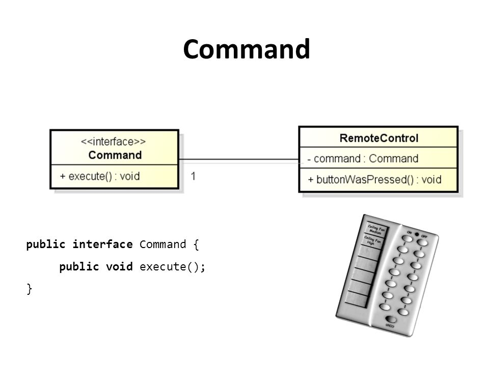 Command public interface Command { public void execute(); }
