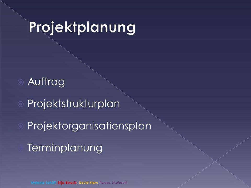 Projektplanung Auftrag Projektstrukturplan Projektorganisationsplan