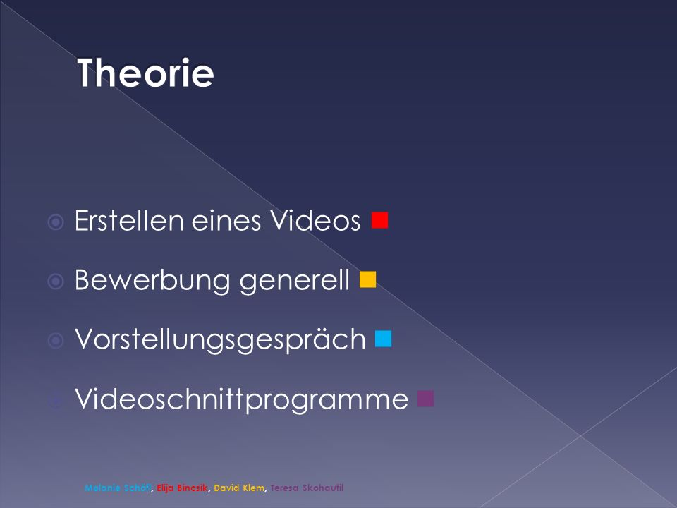 Theorie Erstellen eines Videos  Bewerbung generell 