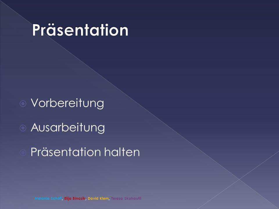 Präsentation Vorbereitung Ausarbeitung Präsentation halten