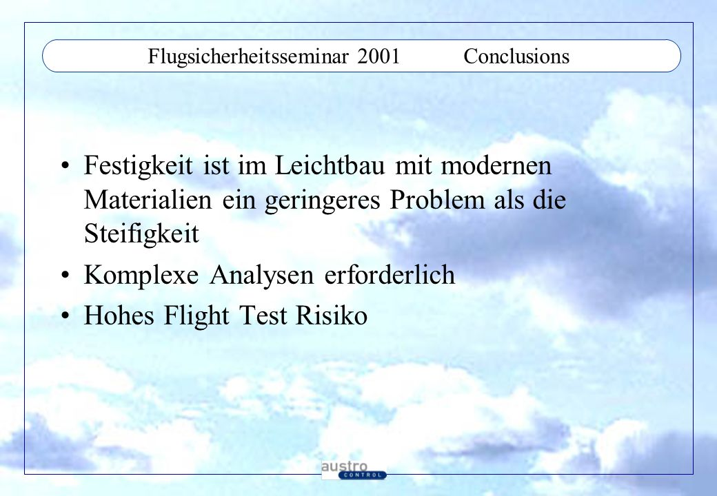 Flugsicherheitsseminar 2001 Conclusions