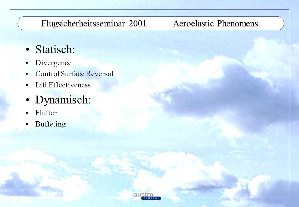 Flugsicherheitsseminar 2001 Aeroelastic Phenomens