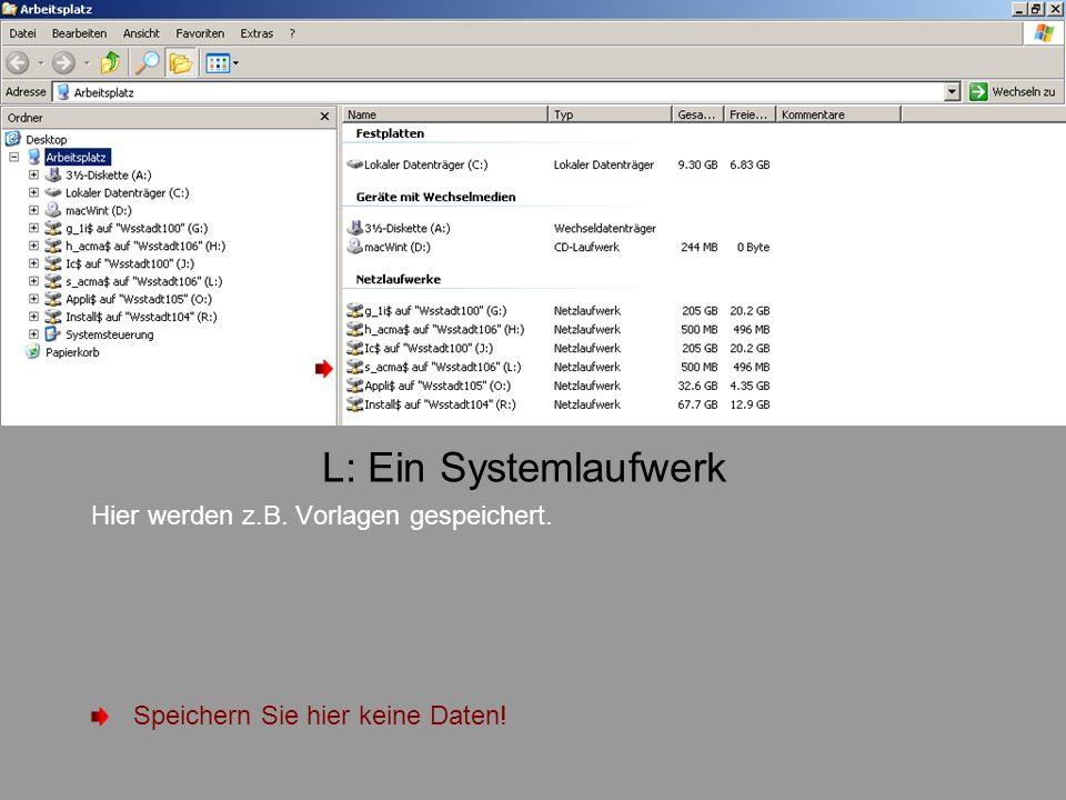 L: Ein Systemlaufwerk Hier werden z.B. Vorlagen gespeichert.