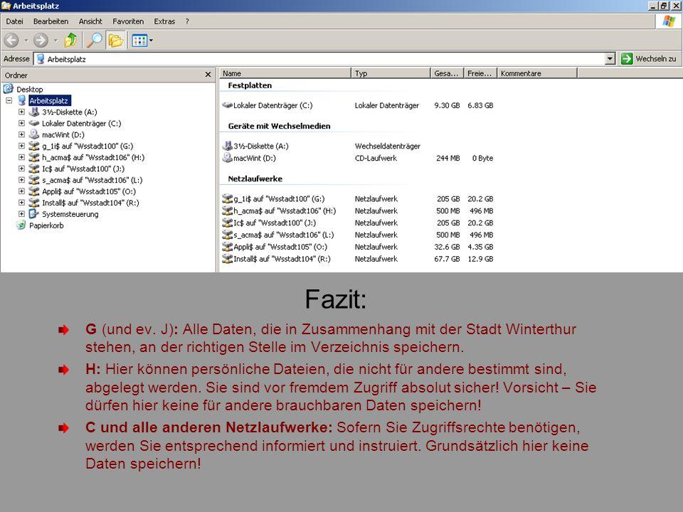 Fazit: G (und ev. J): Alle Daten, die in Zusammenhang mit der Stadt Winterthur stehen, an der richtigen Stelle im Verzeichnis speichern.