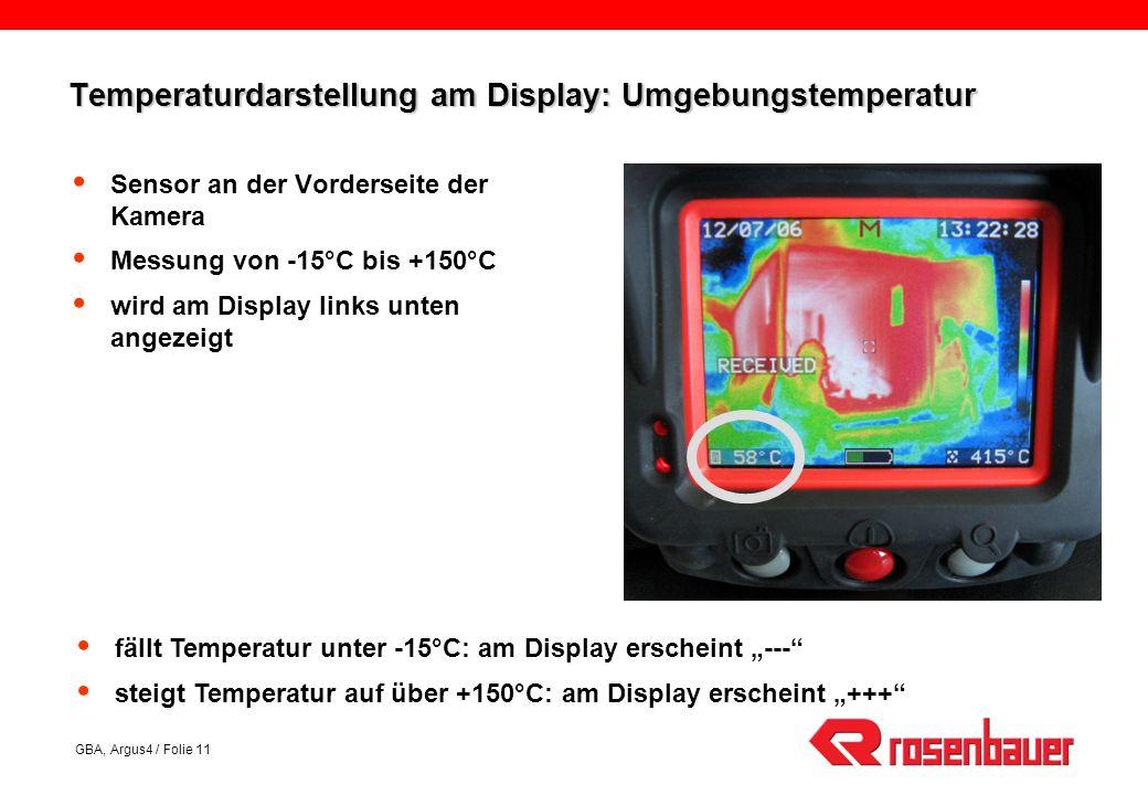 Temperaturdarstellung am Display: Umgebungstemperatur