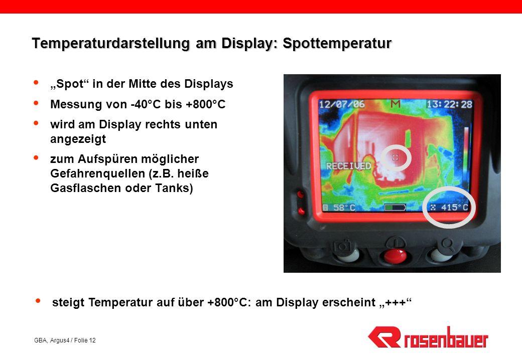Temperaturdarstellung am Display: Spottemperatur