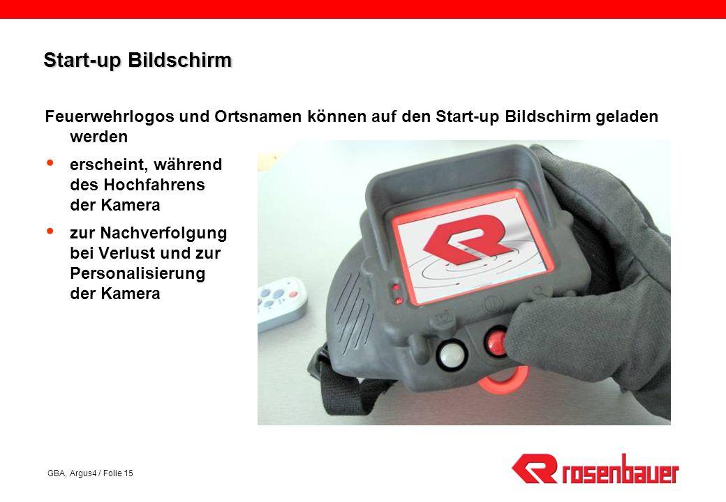 Start-up Bildschirm Feuerwehrlogos und Ortsnamen können auf den Start-up Bildschirm geladen werden.