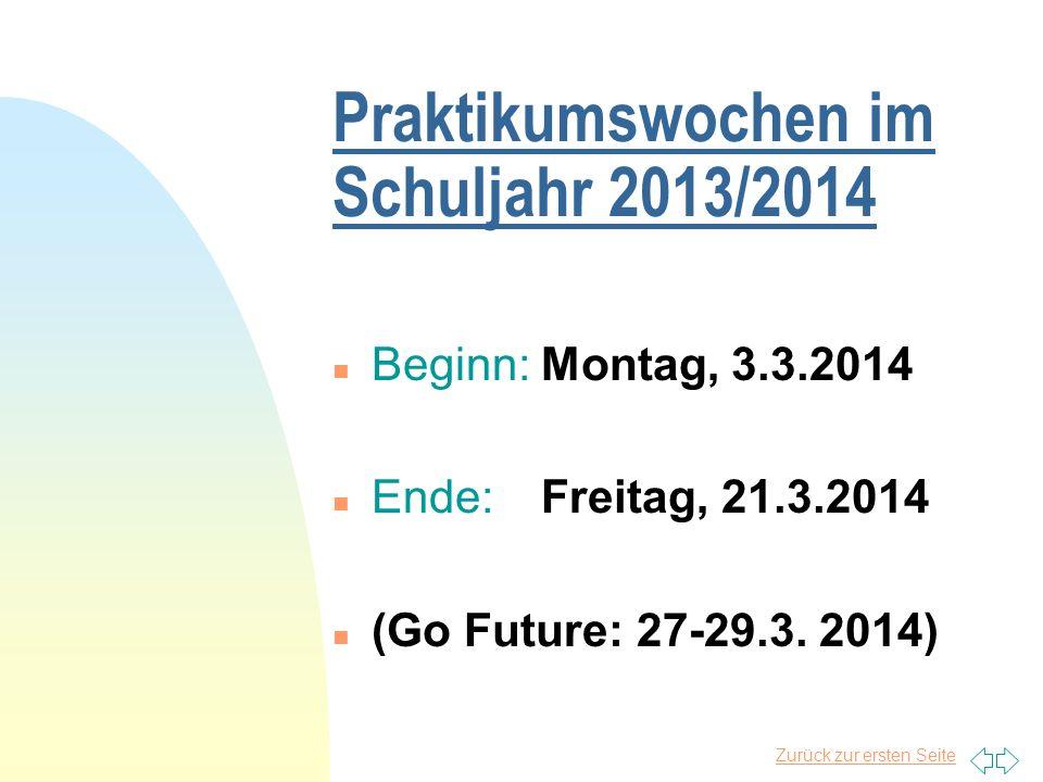 Praktikumswochen im Schuljahr 2013/2014