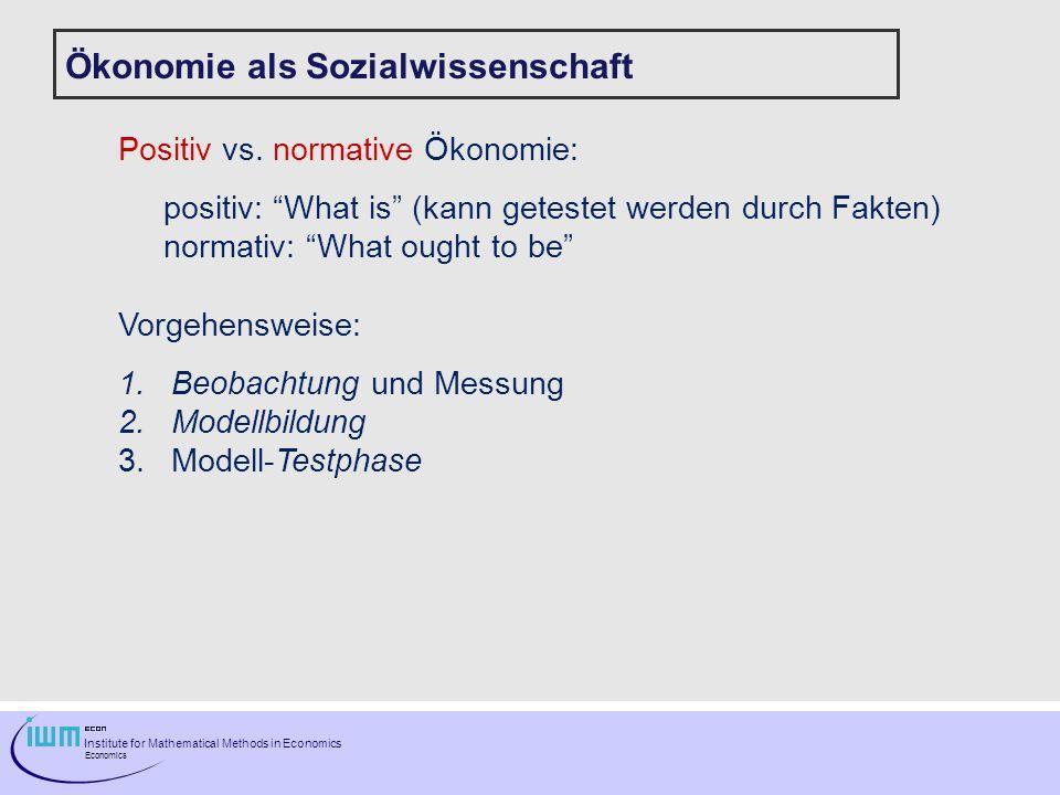 Ökonomie als Sozialwissenschaft