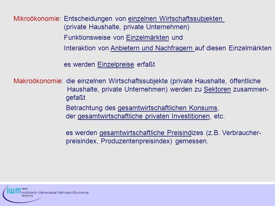 Mikroökonomie: Entscheidungen von einzelnen Wirtschaftssubjekten
