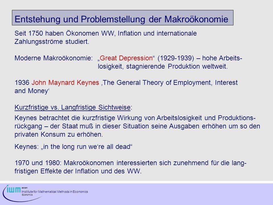 Entstehung und Problemstellung der Makroökonomie