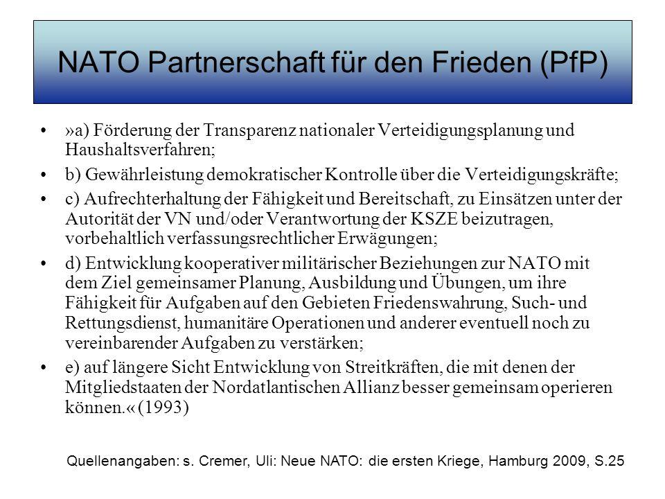 NATO Partnerschaft für den Frieden (PfP)