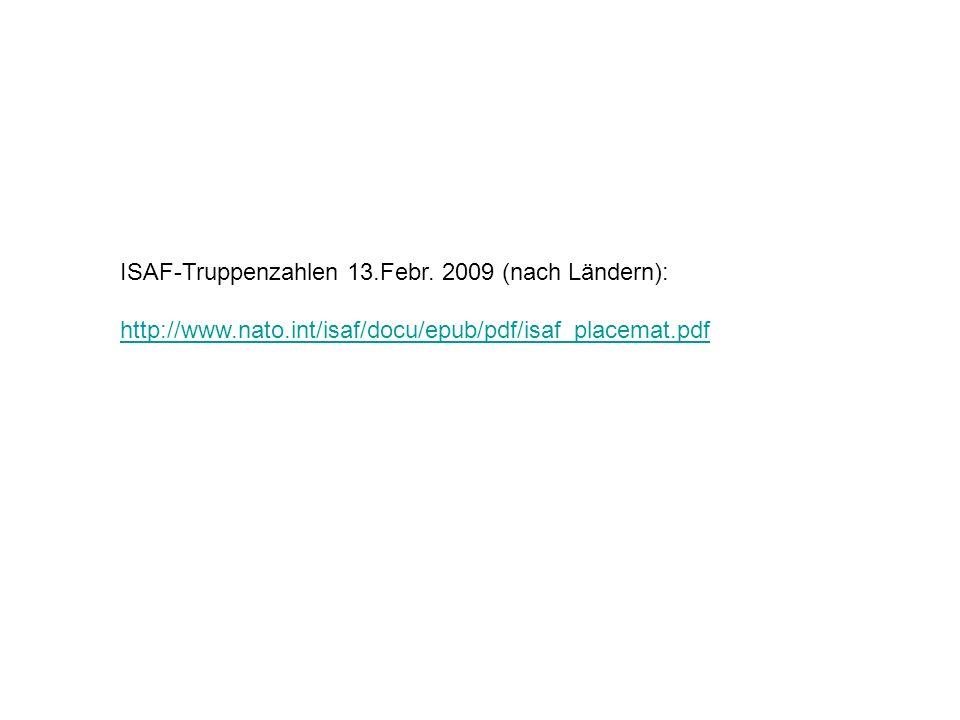 ISAF-Truppenzahlen 13.Febr. 2009 (nach Ländern):