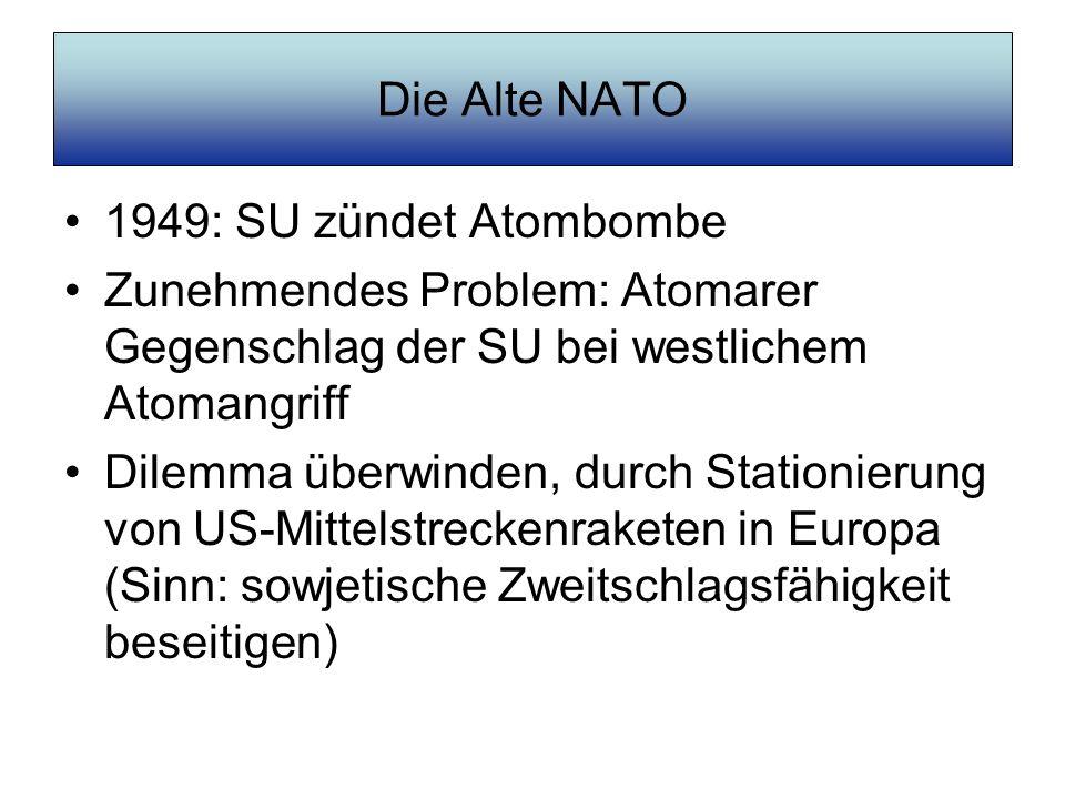 Die Alte NATO 1949: SU zündet Atombombe. Zunehmendes Problem: Atomarer Gegenschlag der SU bei westlichem Atomangriff.