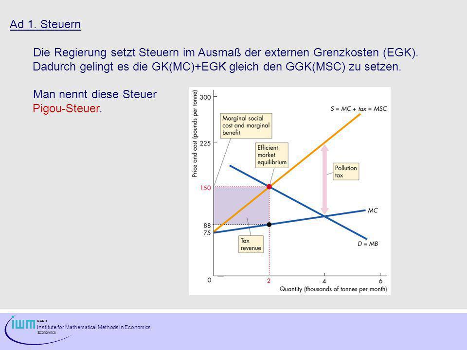 Ad 1. Steuern Die Regierung setzt Steuern im Ausmaß der externen Grenzkosten (EGK). Dadurch gelingt es die GK(MC)+EGK gleich den GGK(MSC) zu setzen.