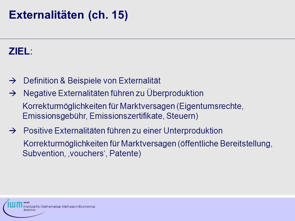 Externalitäten (ch. 15) ZIEL: Definition & Beispiele von Externalität