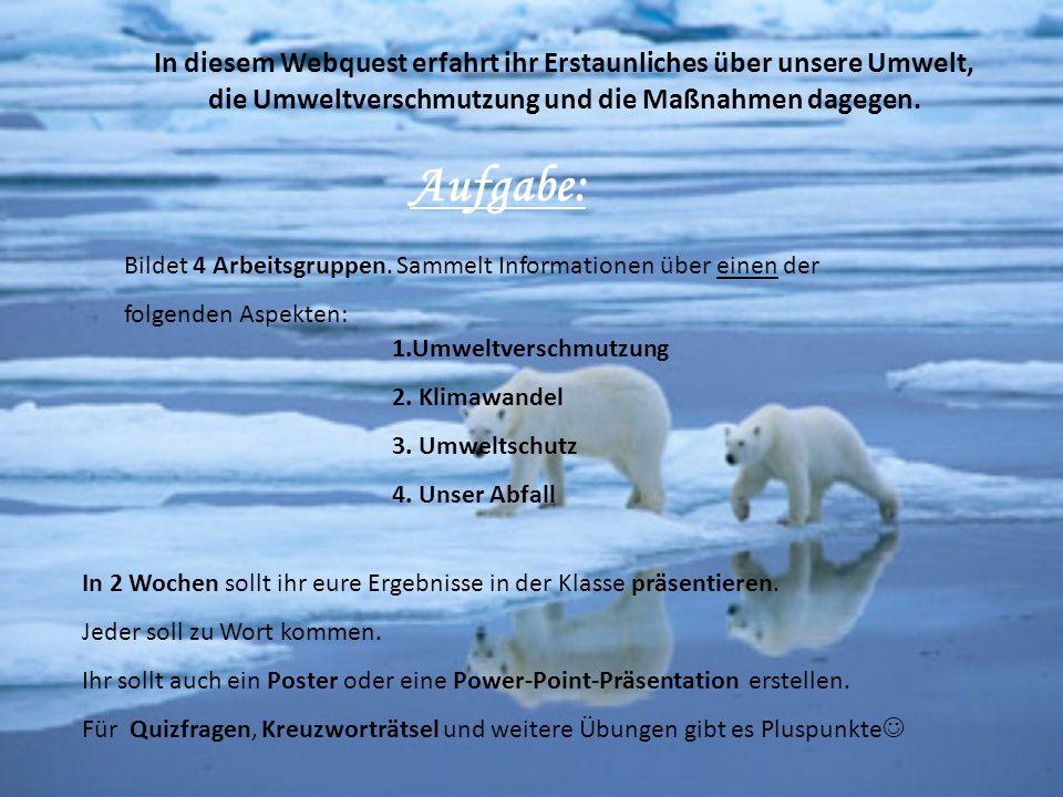 In diesem Webquest erfahrt ihr Erstaunliches über unsere Umwelt,